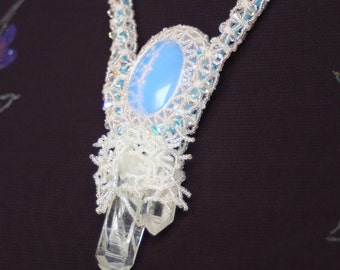 Opalite and Double point Quartz Crystal necklace