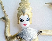 Polcini Necklace Gold Tone Asian Siam Dancer Ballerina Hard to find