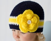 University of Michigan Football Beanie Hat/U of M Hat (fits baby to adult)