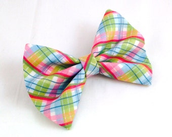 Pink Green Plaid Hair Bow Vintage Inspired Hair Clip Rockabilly Pin up Teen Woman