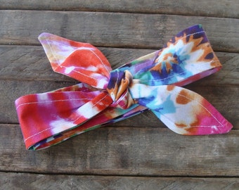 Headband Tie Dyed Girls Teen Women Hair Accessory Retro 60s 70s Hippie Boho Headscarf Hairband with or without elastic
