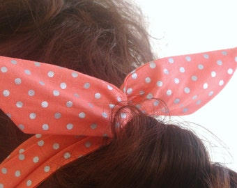 Dolly Bow, Coral Metallic Polka Dots Wire Headband Rockabilly Pinup 50s