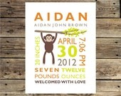 Monkey Wall Art for Baby Custom Personalized Nursery Wall Print 8x10 Birth Announcement