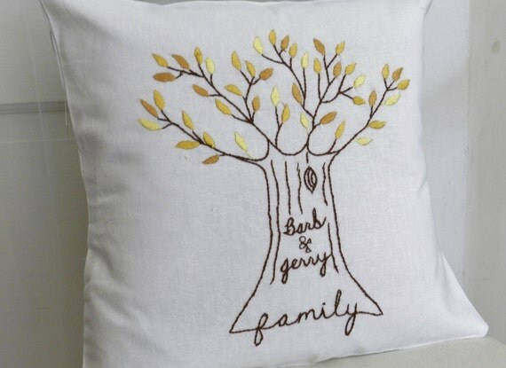 Personalized Family Tree Pillow Cover. Shades of Yellow. Wedding Anniversary.  Wedding. Family Pillow. Couple's Names. Gifts under 100.
