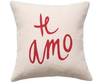 Te Amo Pillow, Cream and Red