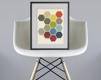 Eventually Everything Connects // Modern Abstract Poster Size A3 DIY Printable - Retro Wall Art, Geometric Print, Hexagon Honeycomb Pattern