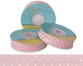 Light Pink with Metallic Gold Dots - Fold Over Elastic - 5 YARDS