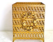 Gold Tissue Box, Hollywood Regency, Roses, Hollywood Regency, 1960s, 1970s, SALE WAS 26 now 22