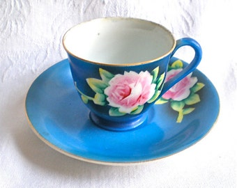 Rose Demitasse Cup Pink Roses Blue Cup Saucer Occupied Japan Porcelain 1950s