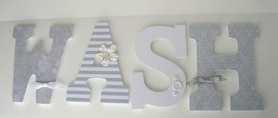 Gray & White Wash Large Wooden Letters Decoupaged Letters
