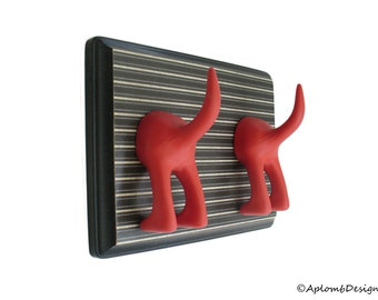 Dog Tail Leash Holder - Double Subtle Stripe - Personalize it with optional letter tiles