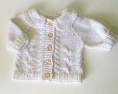 Handknit cardigan for baby boy, white cable baby jacket, baby cardigan MADE TO ORDER