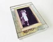 Stained Glass Keepsake Memory Box 50th Wedding Anniversary Gold Family Picture Newborn Photograph Birth Announcement Handmade