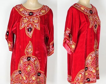 Vintage 60s Embroidered Red Velvet Ethnic India Hippie Dress