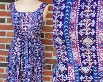 Vintage 80s Ikat Print Babydoll Grunge Purple Mini Dress