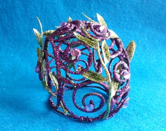 Purple Fairy Crown - glitter vine green rhinestones