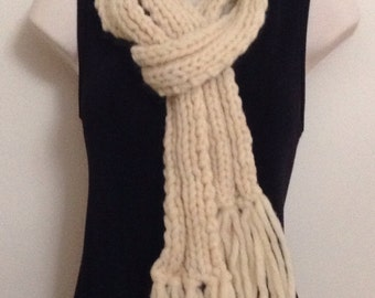 Hand Knit Wool Scarf, women's Ribbed Scarf with Fringe, Unspun Cream Wool, Winter Accessory,gifts for her