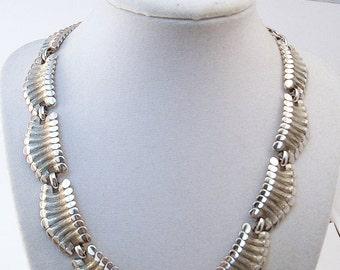 Monet Collar necklace Silver tone textured