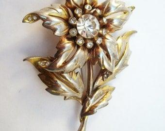 Flower brooch-forties rhinestone coat pin