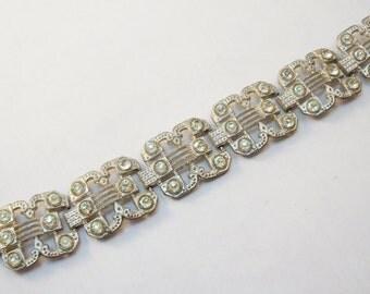 Art deco silver tone rhinestone bracelet
