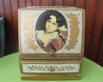 Vintage Italian Style Florentine Made in Japan Wooden Music/Jewelry Box