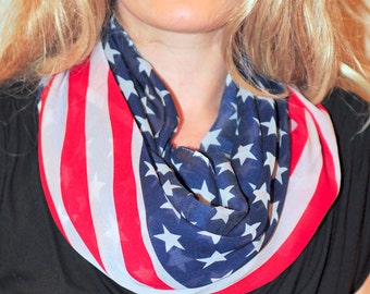 American Spirit Scarf American Flag Scarf 4th of July Scarf Red Blue White Scarf Infinity Scarf