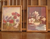 Vintage Flower Prints Bamboo Frame Floral Lithographs with Hollywood Regency Bamboo Frames Hibiscus and Anemone
