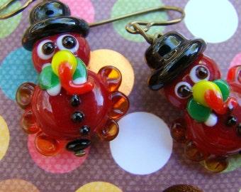 Thanksgiving Turkey Earrings,  Lampwork Glass Turkey Pilgrim Earrings, Hostess Gift, Bead Earrings, Hypoallergenic Holiday Earrings