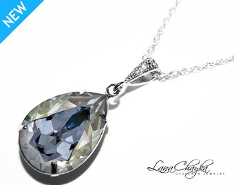 Blue Shade Crystal Necklace Swarovski Blue Shade Rhinestone Silver Necklace Dusty Blue Wedding Necklace Blue Teardrop Necklace Prom Jewelry