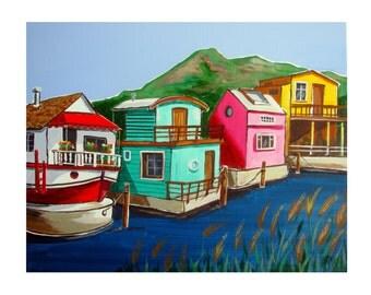 SAUSALITO House Boat, California Marin County, Original Artist illustration, Limited edition Wall Art, Free Shipping in USA.