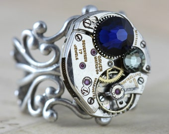 Steampunk Ring Navy Silver Watch Ring Unique Ring Inspired by Elizabeth