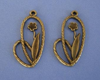 Antiqued Bronze Flower Pendant Charm Dangle.