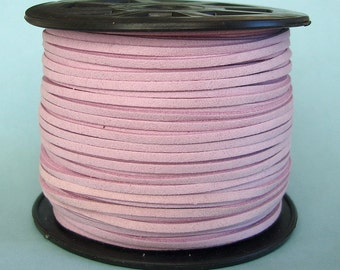 Faux Suede  Cord Lace Cord Leather Flat  Lavender Blush 3x1.5mm-20ft