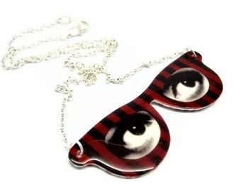 Red Eyeglass Necklace Eyes Frame Stripes Circus Pendant Black Stripes Customize Mod Fun Statement Jewelry Victorian Illustration Plastic