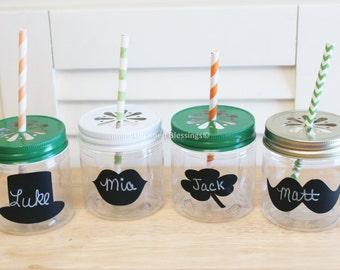 Plastic Mason Jars, 8oz Kids Birthday Party, Colored Daisy Cut Lids, Wedding, Baby Shower, Chalkboard Labels, Orange Green