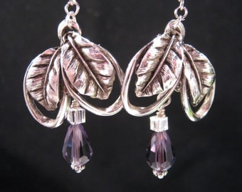 Upcycled Vintage Earrings, Bridesmaid Gift, Silver, Antique, Purple, Teardrop, Pierced, Reclaimed, Under 30, Coupon Code, OOAK - Margaret