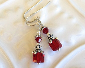 Small Swarovski Siam Red Crystal Earrings in Silver