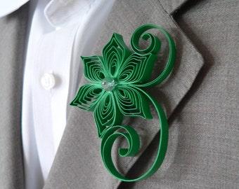 Emerald Green Boutonniere, Emerald Buttonhole, Green Wedding Gifts for Groomsmen, Emerald Wedding Boutonniere, Mens Flower Boutonniere