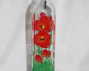Hand painted Oil and Vinegar Bottle - red poppies
