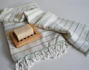 SALE 50 OFF / SET / Turkish Beach Bath Towel / Bamboo - Cotton / Green Striped