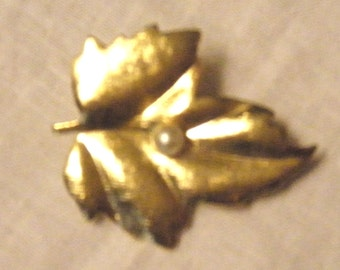 Brooch Brass Leaf Pin with Single Pearl Vintage