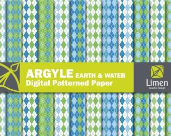 Argyle Digital Paper Pack, Blue Green Argyle Paper, Argyle Scrapbook Paper, Digital Argyle Pattern, Argyle Background, Printable Paper