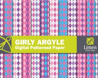 Argyle Paper, Pink Purple Argyle Digital Paper Pack, Argyle Pattern, Argyle Scrapbook Paper, Diamond Paper, Argyle Background, Card Stock