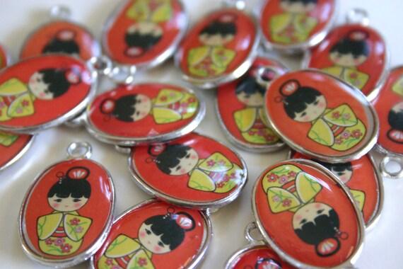 RED Kawaii Kokeshi Doll charms - 4 Metal and Glazed Japanese Kokeshi doll charms