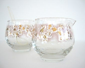 Vintage Cream and Sugar Set Glass Duchess Pink Flowers Stanley Home Products Pyrex 1950s