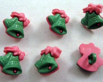 Christmas Bell Buttons in Green and Pink No.102