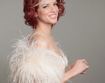 """As Seen in """"The Knot"""" Ostrich Feather Toss Mini Cape"""