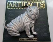 Sharpei dog - Vintage Jonette Jewelry - signed JJ Jonette - vintage jewelry - antique brooch pin