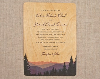 Real Wood Wedding Invitations - Smoky Mountains
