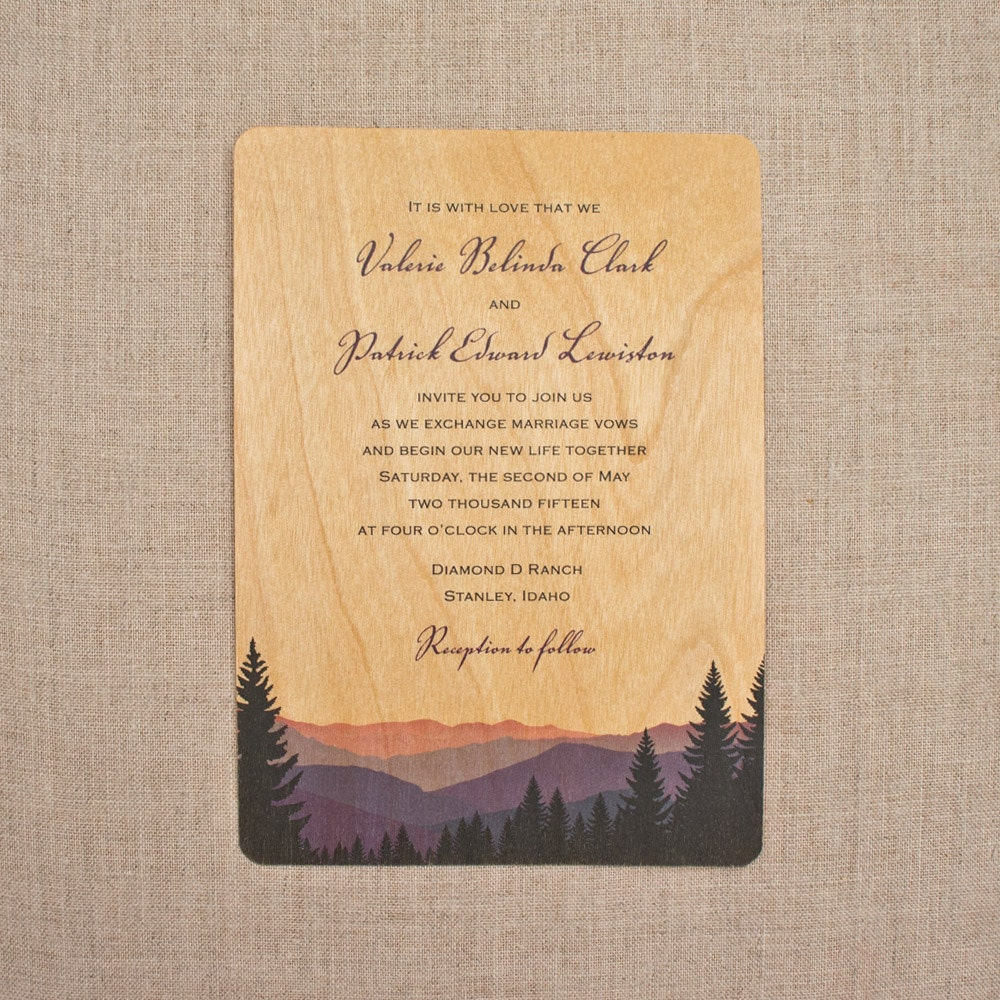 Wood Wedding Invites: Real Wood Wedding Invitations Smoky Mountains